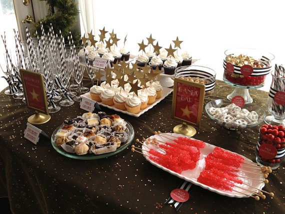 oscar party dessert table